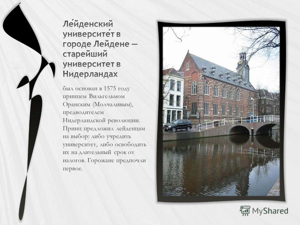 был основан в 1575 году принцем Вильгельмом Оранским (Молчаливым), предводителем Нидерландской революции. Принц предложил лейденцам на выбор: либо учредить университет, либо освободить их на длительный срок от налогов. Горожане предпочли первое.