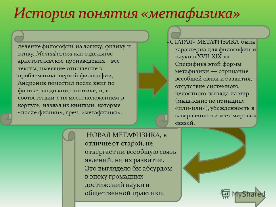 «СТАРАЯ» МЕТАФИЗИКА была характерна для философии и науки в XVII-XIX вв. Специфика этой формы метафизики отрицание всеобщей связи и развития, отсутствие системного, целостного взгляда на мир (мышление по принципу «или-или»), убежденность в завершенно