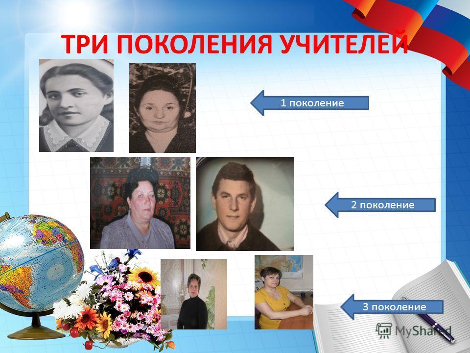 ТРИ ПОКОЛЕНИЯ УЧИТЕЛЕЙ 1 поколение 2 поколение 3 поколение