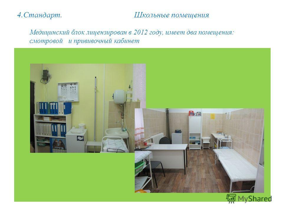 4.Стандарт. Школьные помещения Медицинский блок лицензирован в 2012 году, имеет два помещения: смотровой и прививочный кабинет.