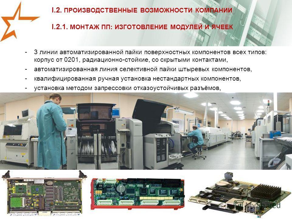 I.2. ПРОИЗВОДСТВЕННЫЕ ВОЗМОЖНОСТИ КОМПАНИИ I.2.1. МОНТАЖ ПП: ИЗГОТОВЛЕНИЕ МОДУЛЕЙ И ЯЧЕЕК -3 линии автоматизированной пайки поверхностных компонентов всех типов: корпус от 0201, радиационно-стойкие, со скрытыми контактами, -автоматизированная линия с