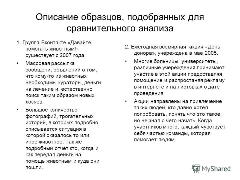 Описание образцов, подобранных для сравнительного анализа 1. Группа Вконтакте «Давайте помогать животным!» существует с 2007 года. Массовая рассылка сообщений, объявлений о том, что кому-то из животных необходимы кураторы, деньги на лечение и, естест
