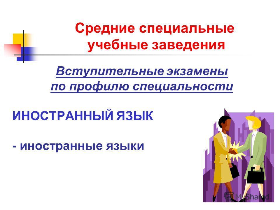 Средние специальные учебные заведения Вступительные экзамены по профилю специальности ИНОСТРАННЫЙ ЯЗЫК - иностранные языки