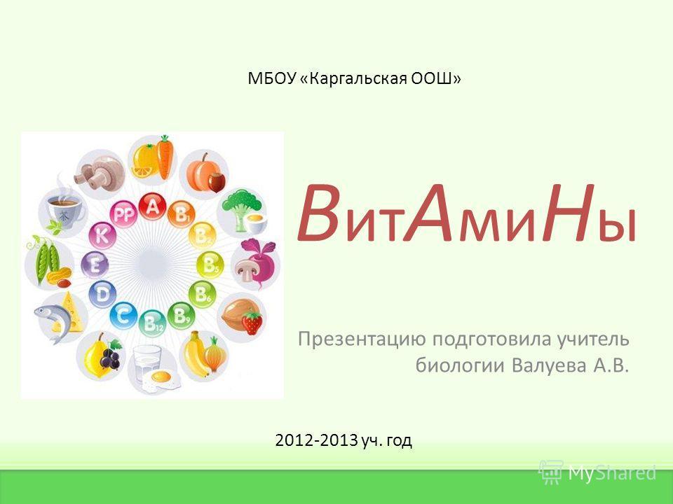 В ит А ми Н ы Презентацию подготовила учитель биологии Валуева А.В. МБОУ «Каргальская ООШ» 2012-2013 уч. год