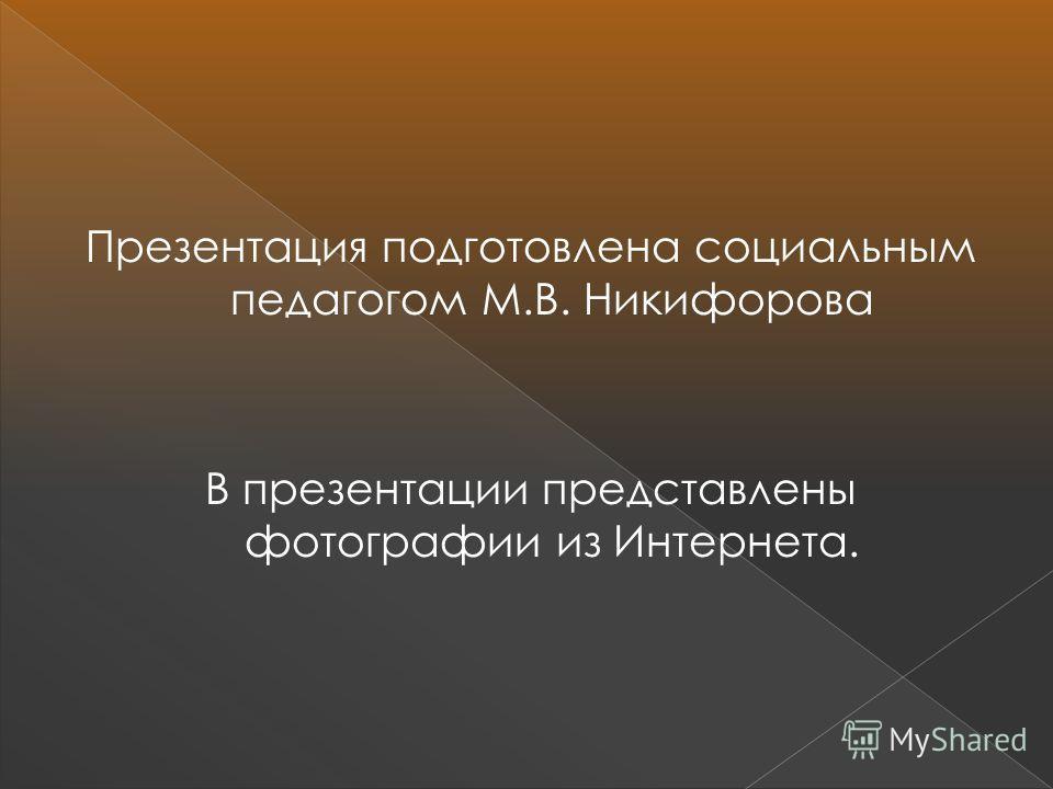Презентация подготовлена социальным педагогом М.В. Никифорова В презентации представлены фотографии из Интернета.