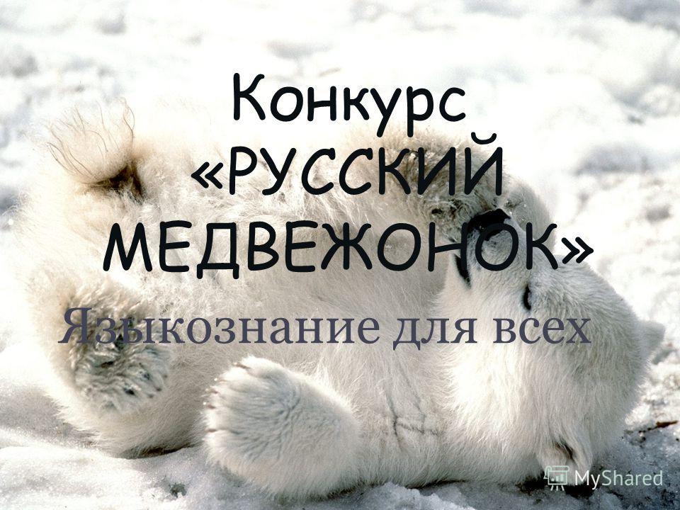 Конкурс «РУССКИЙ МЕДВЕЖОНОК» Языкознание для всех