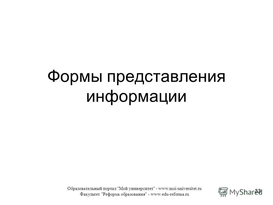 Образовательный портал Мой университет - www.moi-universitet.ru Факультет Реформа образования - www.edu-reforma.ru 33 Формы представления информации