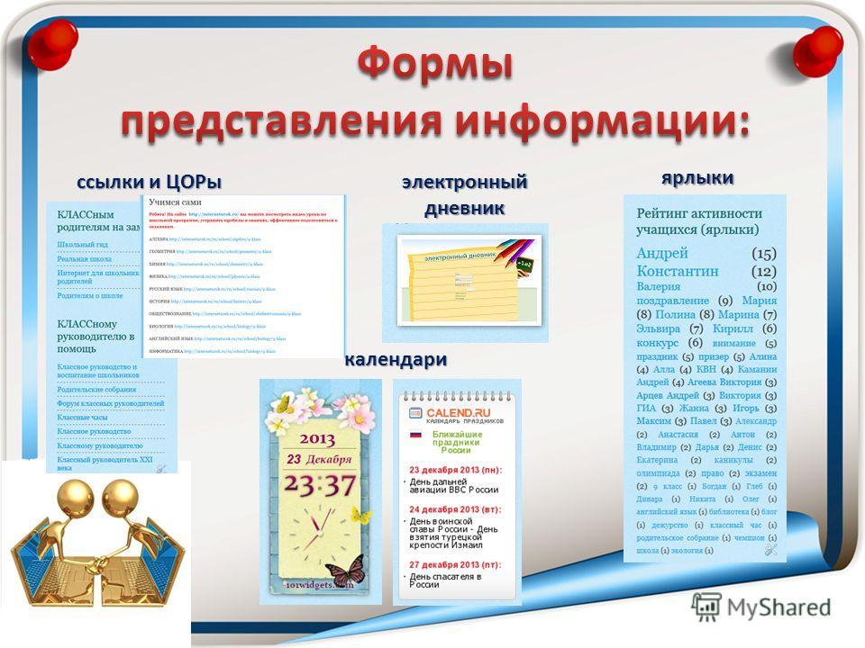ссылки и ЦОРы ярлыки календари электронный дневник