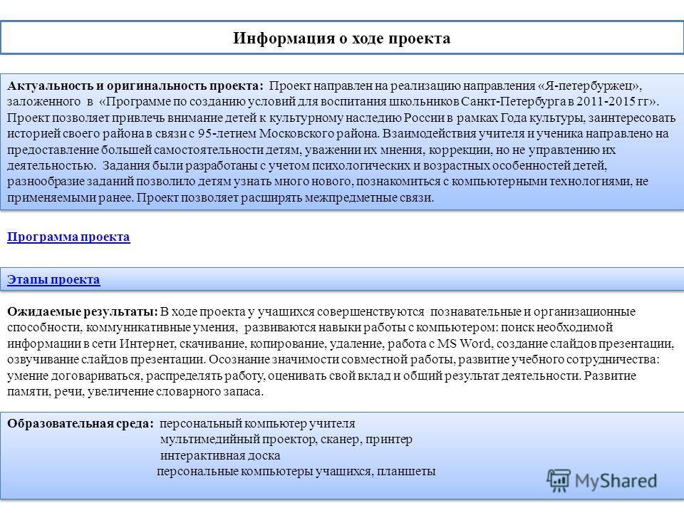 Информация о ходе проекта Актуальность и оригинальность проекта: Проект направлен на реализацию направления «Я-петербуржец», заложенного в «Программе по созданию условий для воспитания школьников Санкт-Петербурга в 2011-2015 гг». Проект позволяет при