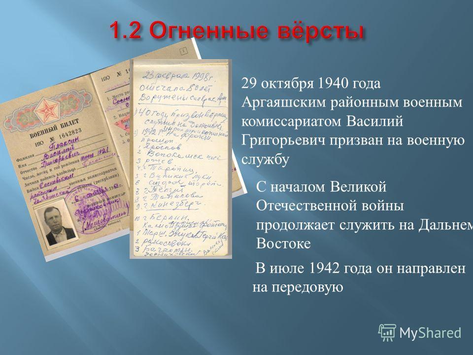 29 октября 1940 года Аргаяшским районным военным комиссариатом Василий Григорьевич призван на военную службу С началом Великой Отечественной войны продолжает служить на Дальнем Востоке В июле 1942 года он направлен на передовую