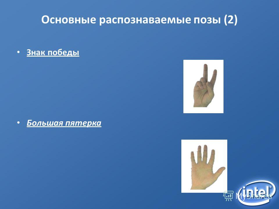 Основные распознаваемые позы (2) Знак победы Большая пятерка