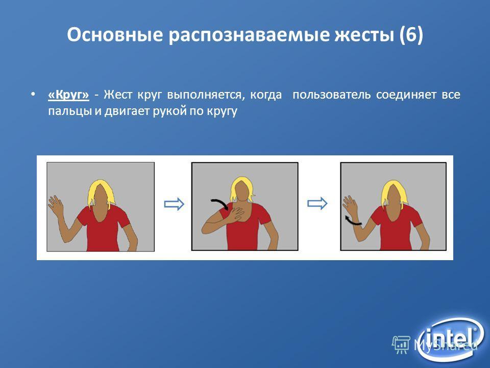 Основные распознаваемые жесты (6) «Круг» - Жест круг выполняется, когда пользователь соединяет все пальцы и двигает рукой по кругу