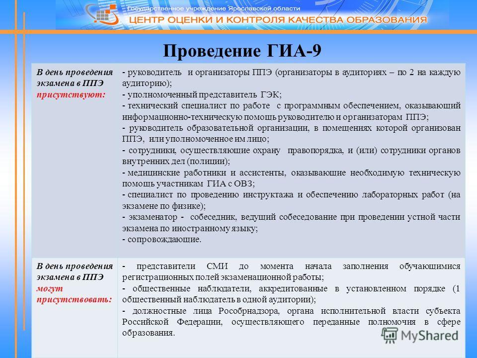 Проведение ГИА-9 В день проведения экзамена в ППЭ присутствуют: - руководитель и организаторы ППЭ (организаторы в аудиториях – по 2 на каждую аудиторию); - уполномоченный представитель ГЭК; - технический специалист по работе с программным обеспечение