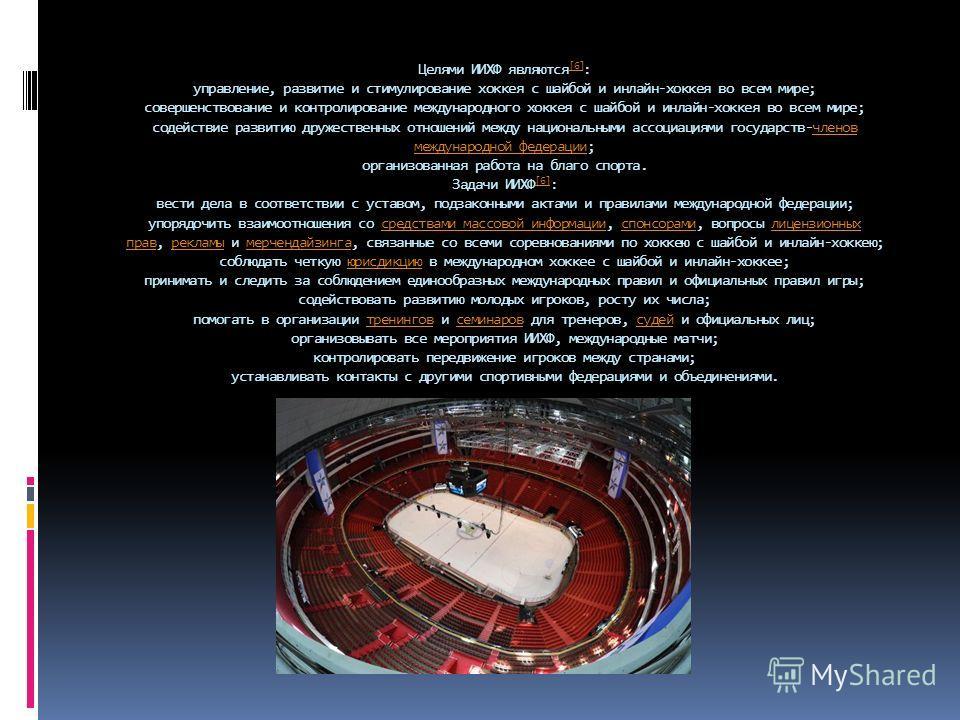 Целями ИИХФ являются [6] : управление, развитие и стимулирование хоккеюя с шабой и онлайн-хоккеюя во всем мире; совершенствование и контролирование международного хоккеюя с шабой и онлайн-хоккеюя во всем мире; содействие развитию дружественных отноше