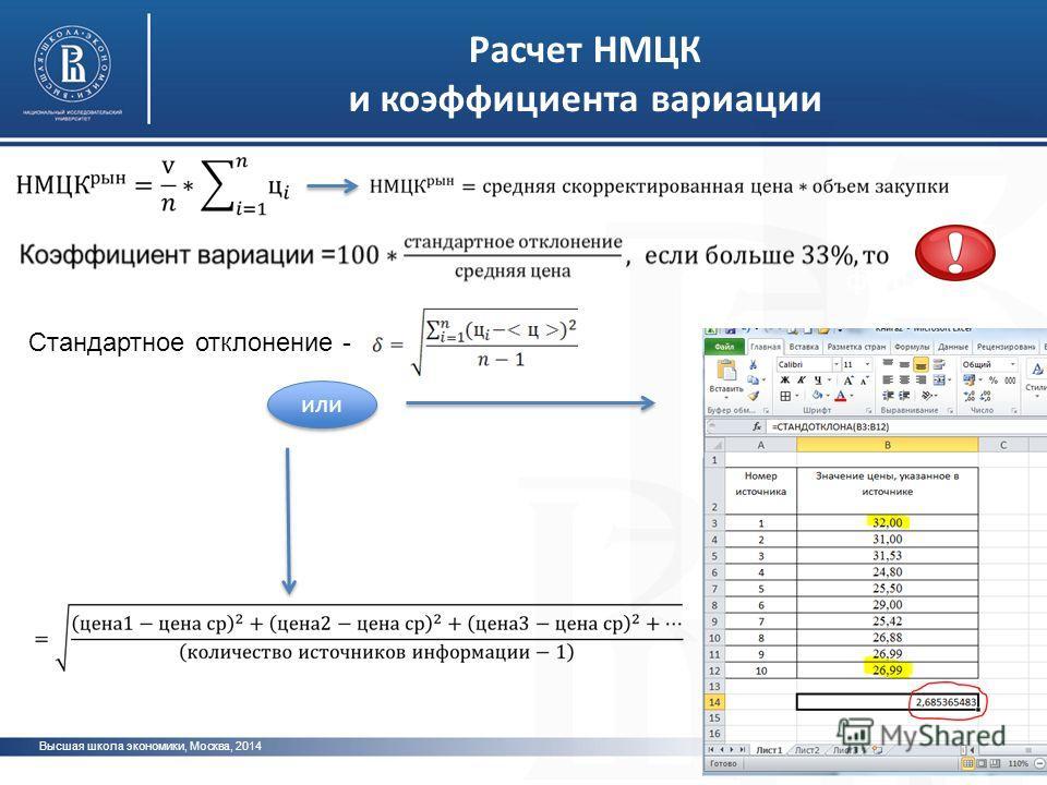 Высшая школа экономики, Москва, 2014 фото Расчет НМЦК и коэффициента вариации Стандартное отклонение - или