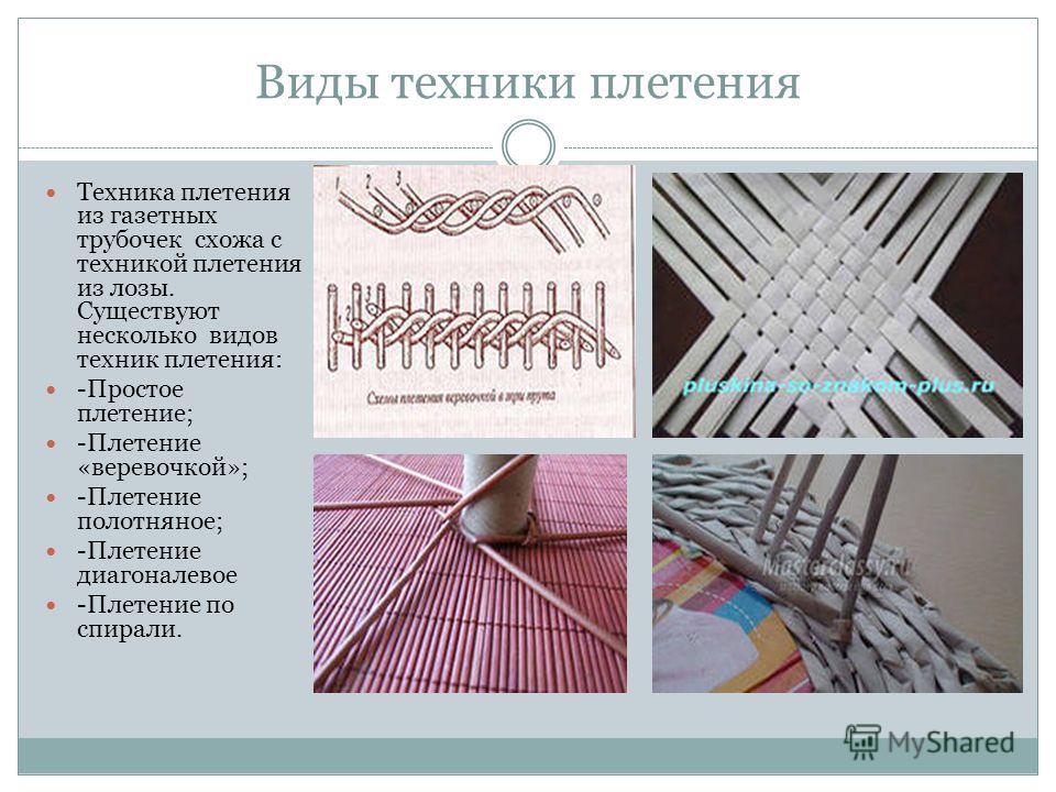 Виды техники плетения Техника плетения из газетных трубочек схожа с техникой плетения из лозы. Существуют несколько видов техник плетения: -Простое плетение; -Плетение «веревочкой»; -Плетение полотняное; -Плетение диагоналевое -Плетение по спирали.