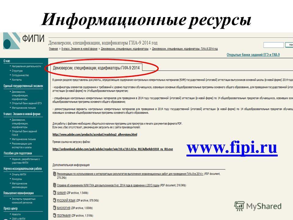 Информационные ресурсы www.fipi.ru