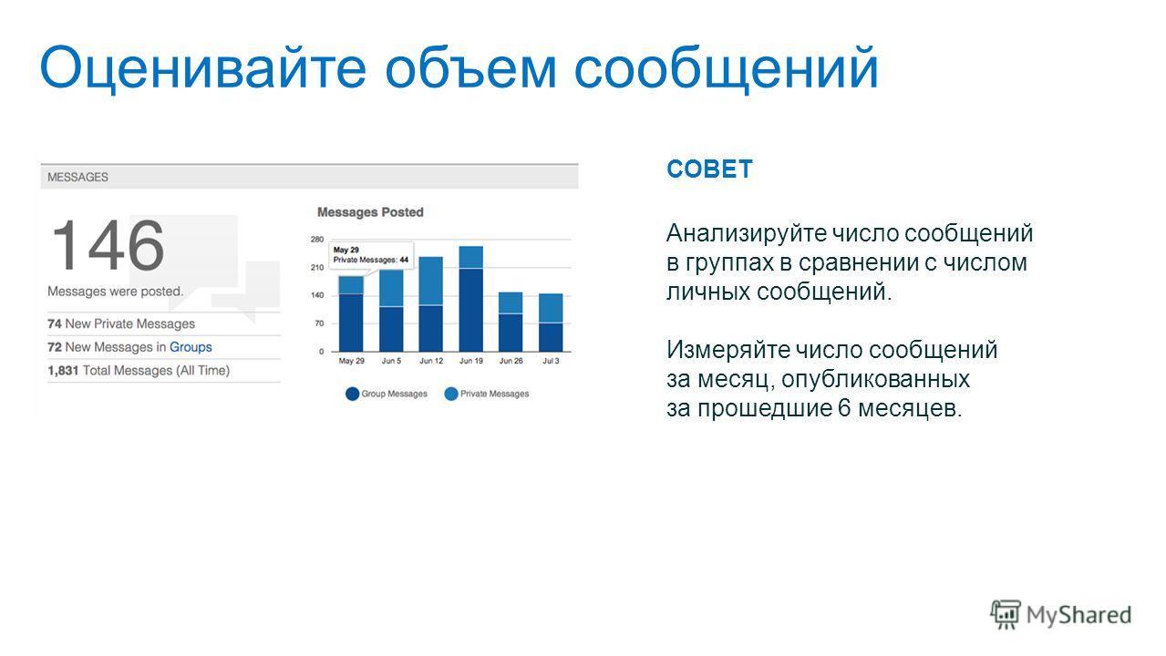 Оценивайте объем сообщений СОВЕТ Анализируйте число сообщений в группах в сравнении с числом личных сообщений. Измеряйте число сообщений за месяц, опубликованных за прошедшие 6 месяцев.