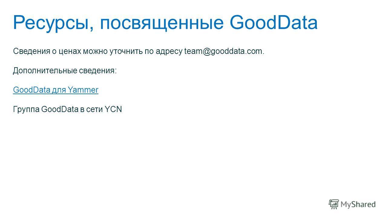 Ресурсы, посвященные GoodData Сведения о ценах можно уточнить по адресу team@gooddata.com. Дополнительные сведения: GoodData для Yammer Группа GoodData в сети YCN