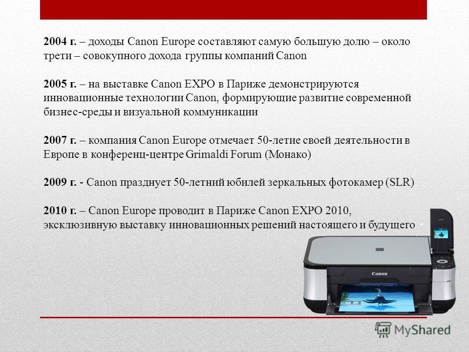 2004 г. – доходы Canon Europe составляют самую большую долю – около трети – совокупного дохода группы компаний Canon 2005 г. – на выставке Canon EXPO в Париже демонстрируются инновационные технологии Canon, формирующие развитие современной бизнес-сре