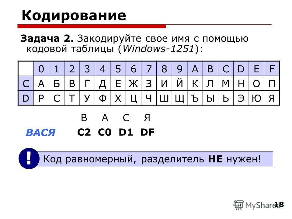 18 Кодирование Задача 2. Закодируйте свое имя с помощью кодовой таблицы (Windows-1251): 0123456789ABCDEF CАБВГДЕЖЗИЙКЛМНОП DРСТУФХЦЧШЩЪЫЬЭЮЯ ВАСЯ С2 С0 D1 DF ВАСЯ Код равномерный, разделитель НЕ нужен! !