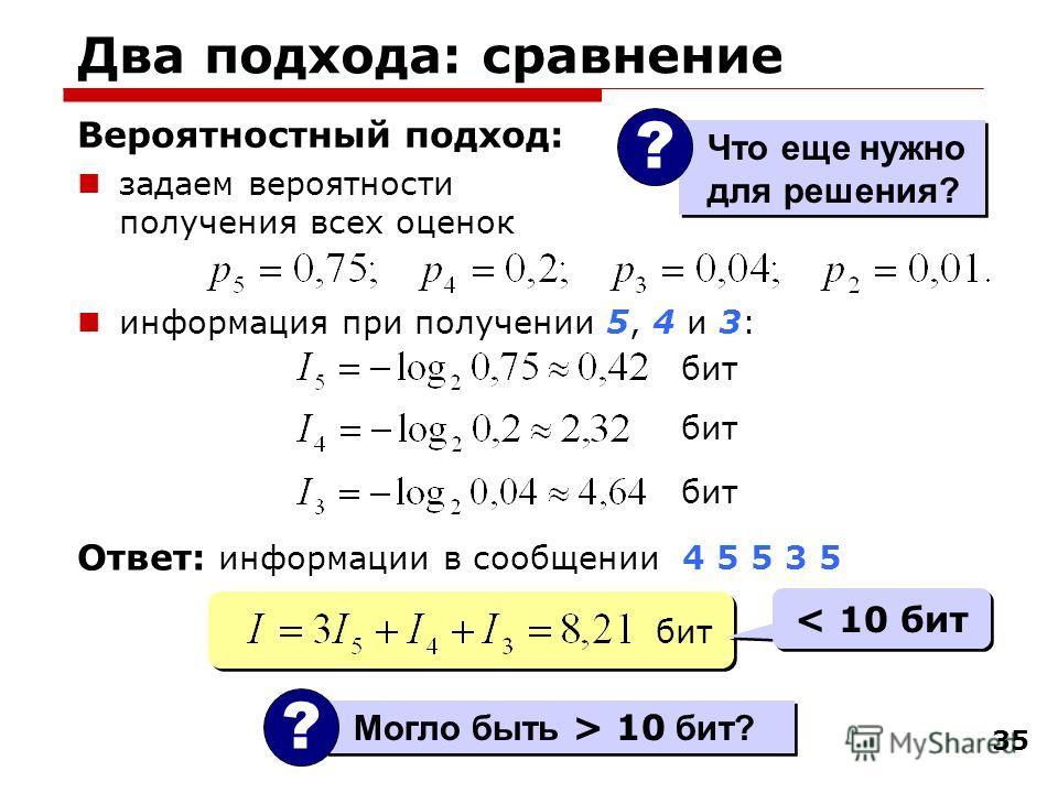 35 Два подхода: сравнение Вероятностный подход: задаем вероятности получения всех оценок информация при получении 5, 4 и 3: Могло быть > 10 бит? ? бит < 10 бит Ответ: информации в сообщении 4 5 5 3 5 Что еще нужно для решения? ?