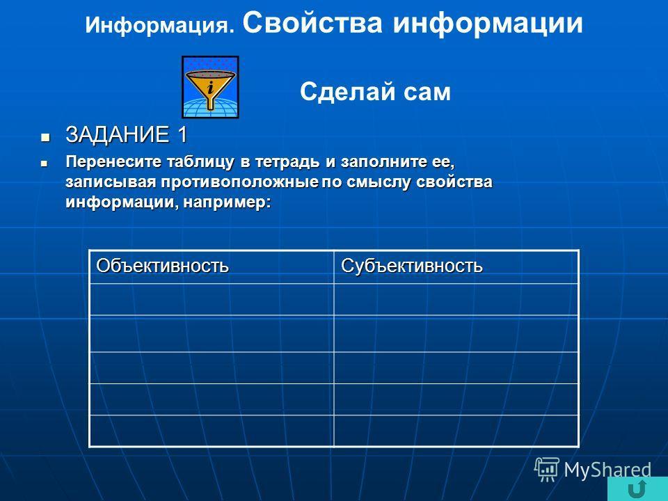 Информация. Свойства информации ЗАДАНИЕ 1 ЗАДАНИЕ 1 Перенесите таблицу в тетрадь и заполните ее, записывая противоположные по смыслу свойства информации, например: Перенесите таблицу в тетрадь и заполните ее, записывая противоположные по смыслу свойс
