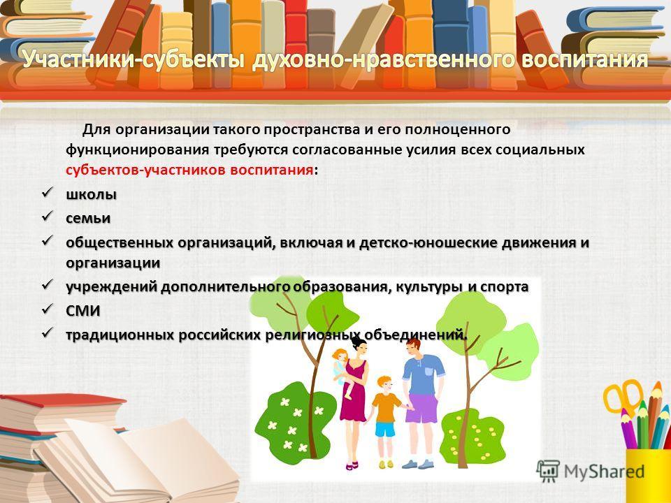 Для организации такого пространства и его полноценного функционирования требуются согласованные усилия всех социальных субъектов-участников воспитания: школы школы семьи семьи общественных организаций, включая и детско-юношеские движения и организаци