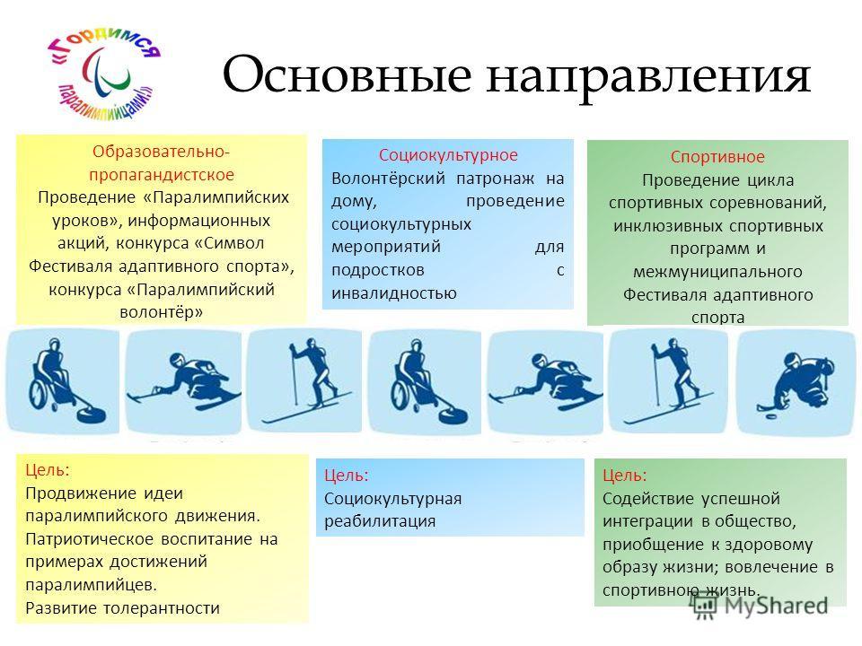 Цель: Продвижение идеи параолимпийского движения. Патриотическое воспитание на примерах достижений паралимпийцев. Развитие толерантности Образовательно- пропагандистское Проведение «Паралимпийских уроков», информационных акций, конкурса «Символ Фести