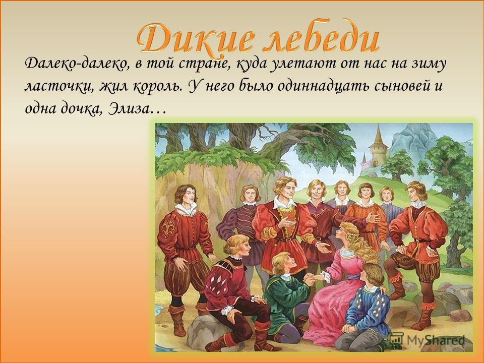 Далеко-далеко, в той стране, куда улетают от нас на зиму ласточки, жил король. У него было одиннадцать сыновей и одна дочка, Элиза…