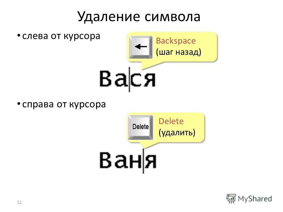 Удаление символа 12 слева от курсора справа от курсора Delete (удалить) Delete (удалить) Backspace (шаг назад) Backspace (шаг назад)