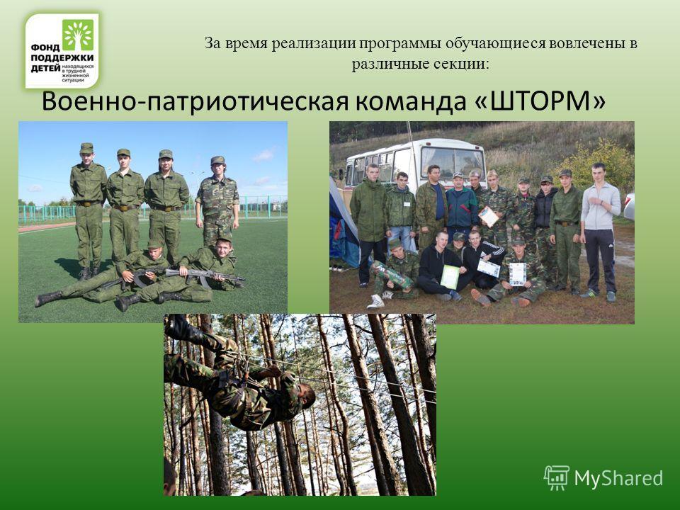 За время реализации программы обучающиеся вовлечены в различные секции: Военно-патриотическая команда «ШТОРМ»