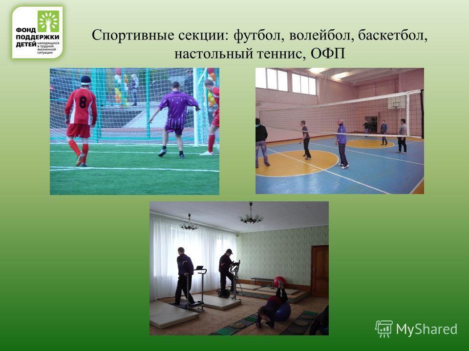 Спортивные секции: футбол, волейбол, баскетбол, настольный теннис, ОФП