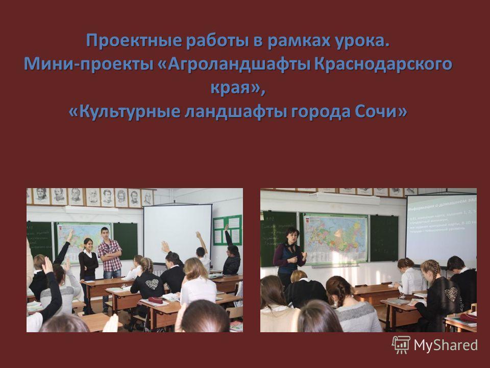 Проектные работы в рамках урока. Мини-проекты «Агроландшафты Краснодарского края», «Культурные ландшафты города Сочи»