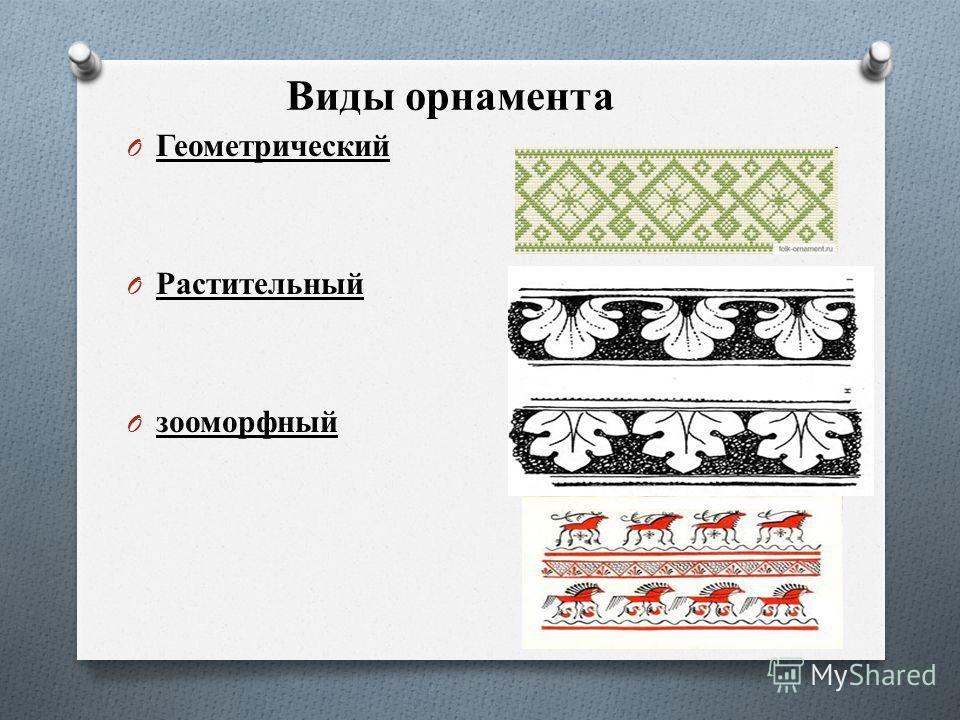 Виды орнамента O Геометрический O Растительный O зооморфный