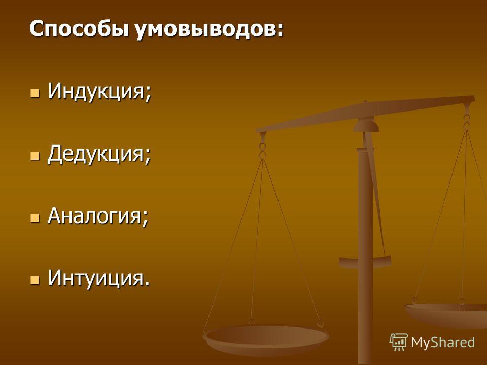 Способы умовыводов: Индукция; Индукция; Дедукция; Дедукция; Аналогия; Аналогия; Интуиция. Интуиция.
