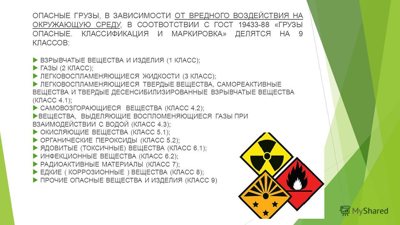 ОПАСНЫЕ ГРУЗЫ, В ЗАВИСИМОСТИ ОТ ВРЕДНОГО ВОЗДЕЙСТВИЯ НА ОКРУЖАЮЩУЮ СРЕДУ, В СООТВОТСТВИИ С ГОСТ 19433-88 «ГРУЗЫ ОПАСНЫЕ. КЛАССИФИКАЦИЯ И МАРКИРОВКА» ДЕЛЯТСЯ НА 9 КЛАССОВ: ВЗРЫВЧАТЫЕ ВЕЩЕСТВА И ИЗДЕЛИЯ (1 КЛАСС); ГАЗЫ (2 КЛАСС); ЛЕГКОВОСПЛАМЕНЯЮЩИЕСЯ