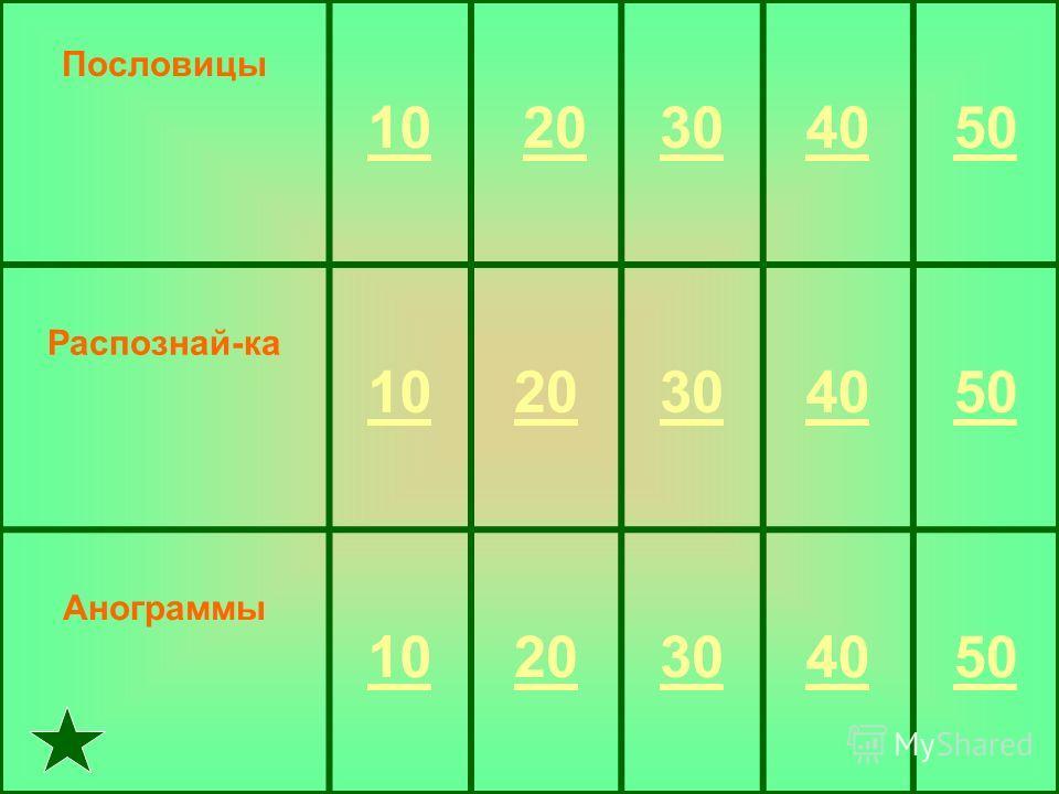 Пословицы 10 20 304050 Распознай-ка 1020304050 Анограммы 1020304050