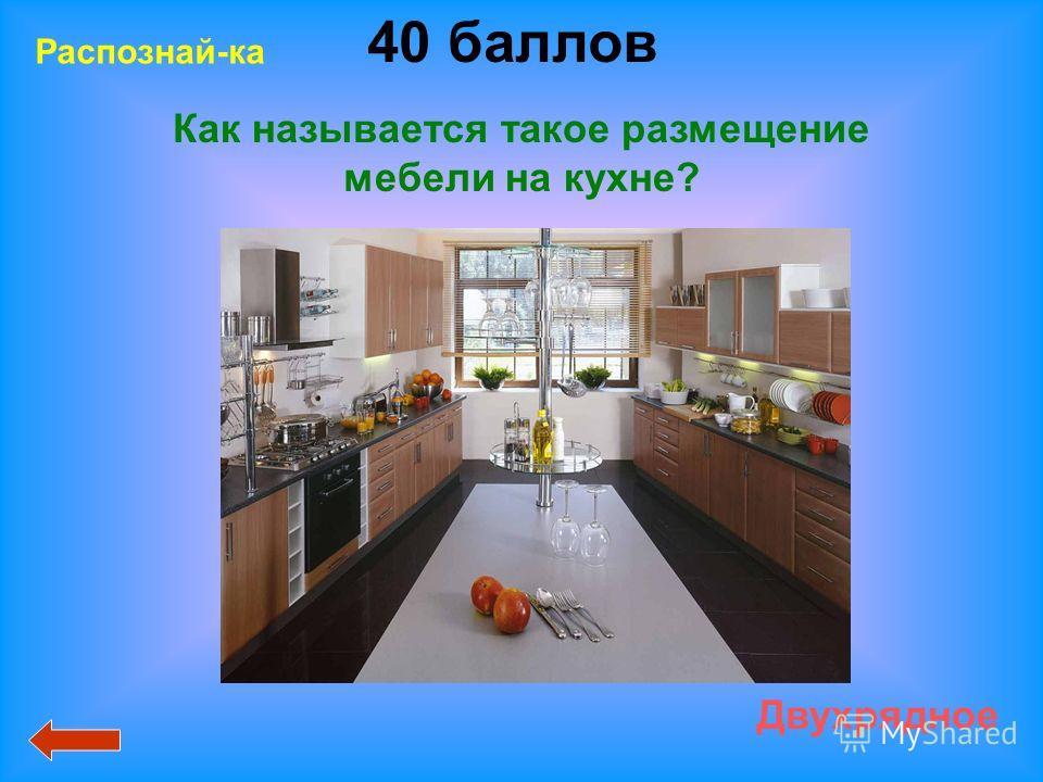 40 баллов Двухрядное Распознай-ка Как называется такое размещение мебели на кухне?