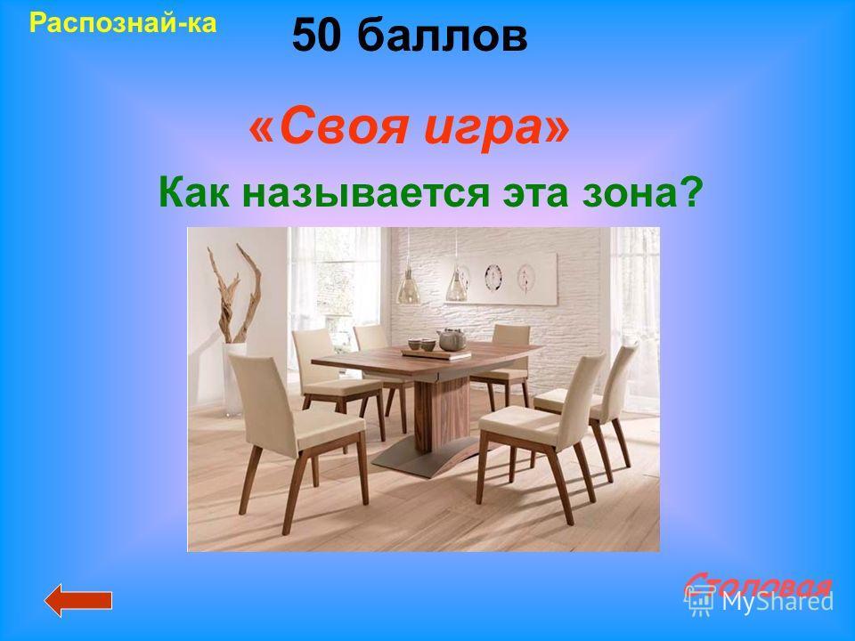 50 баллов «Своя игра» Столовая Распознай-ка Как называется эта зона?