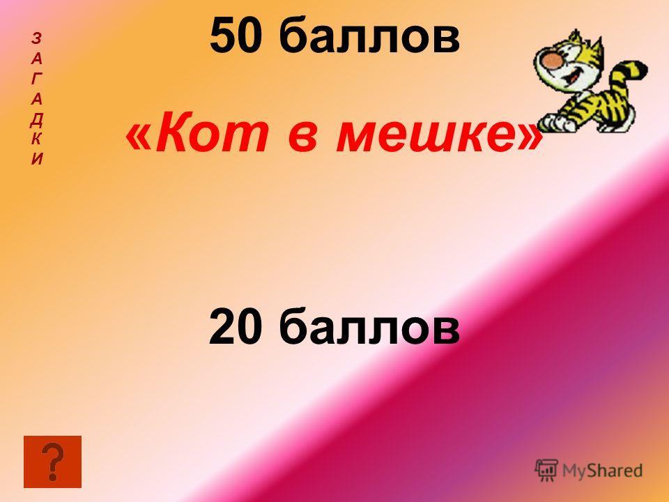 50 баллов «Кот в мешке» 20 баллов ЗАГАДКИЗАГАДКИ