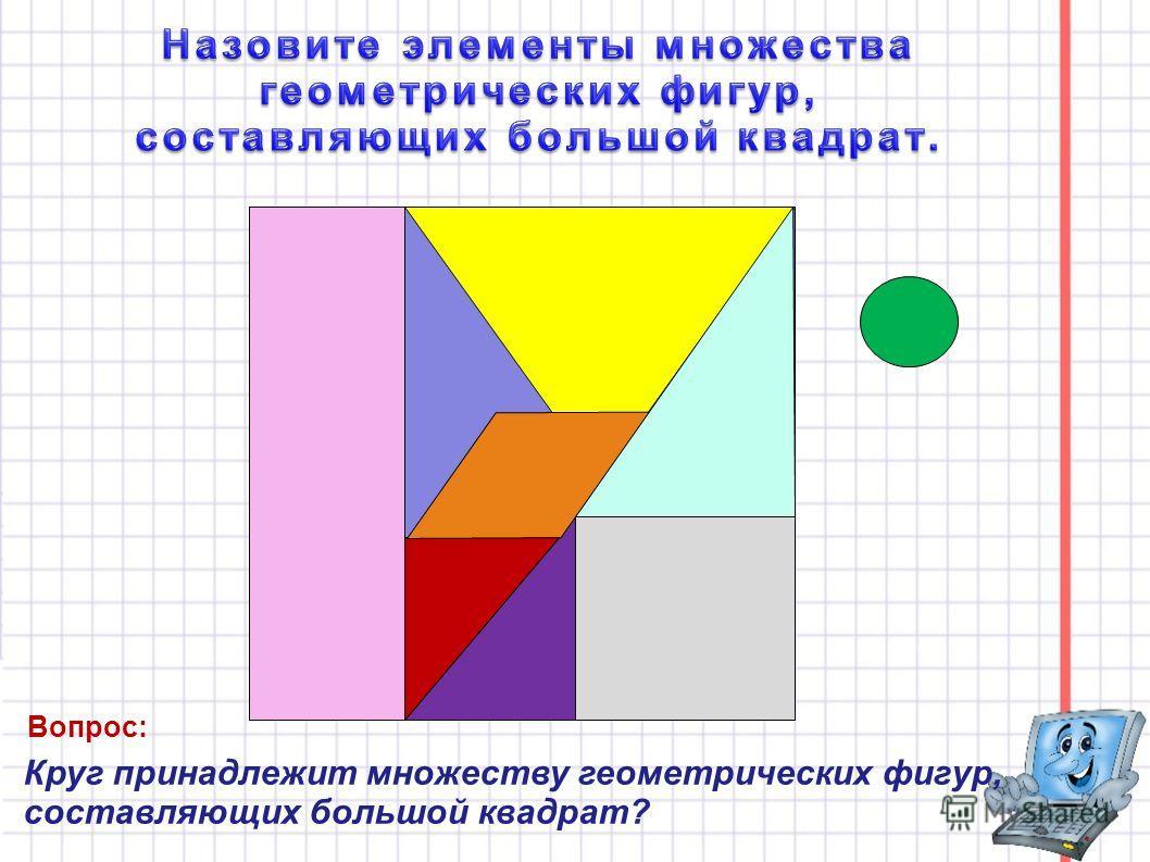 Круг принадлежит множеству геометрических фигур, составляющих большой квадрат? Вопрос: