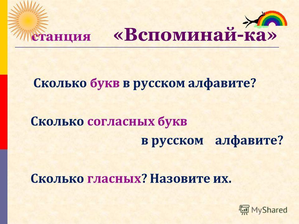 станция «Вспоминай-ка» Сколько букв в русском алфавите? Сколько согласных букв в русском алфавите? Сколько гласных? Назовите их.