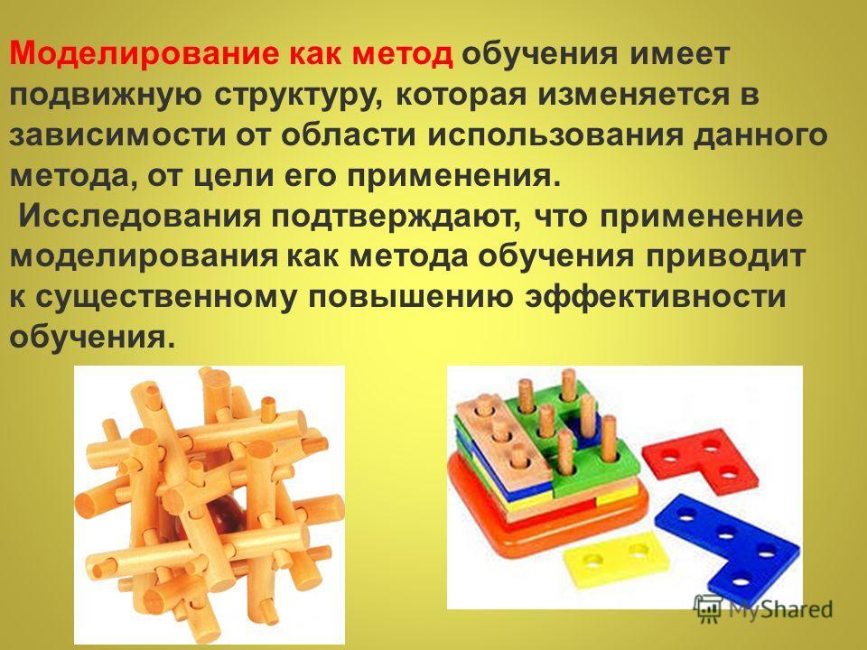 Моделирование как метод обучения имеет подвижную структуру, которая изменяется в зависимости от области использования данного метода, от цели его применения. Исследования подтверждают, что применение моделирования как метода обучения приводит к сущес