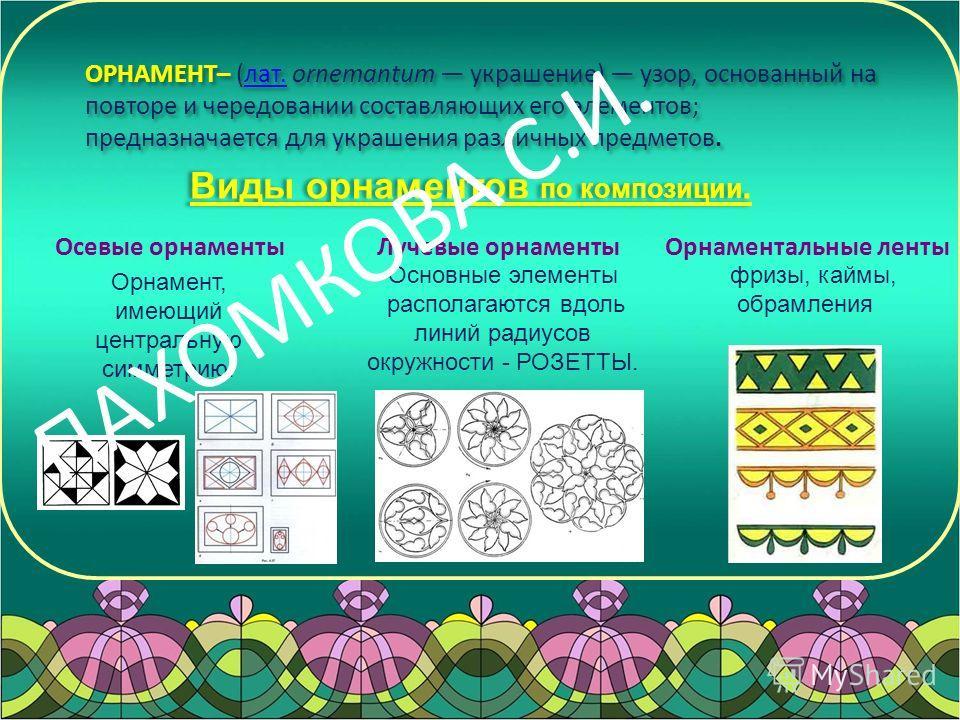Осевые орнаменты Лучевые орнаменты Виды орнаментов по композиции. Орнамент, имеющий центральную симметрию. Основные элементы располагаются вдоль линий радиусов окружности - РОЗЕТТЫ. ОРНАМЕНТ– (лат. ornemantum украшение) узор, основанный на повторе и