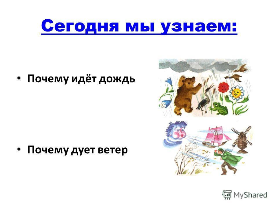 Сегодня мы узнаем: Почему идёт дождь Почему дует ветер