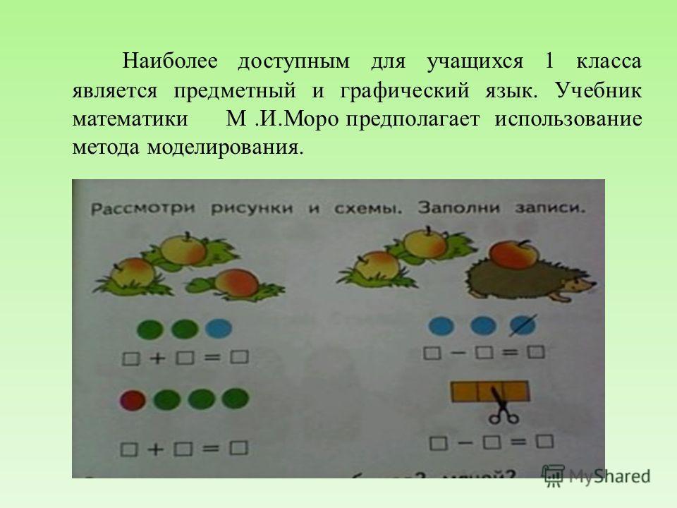 Наиболее доступным для учащихся 1 класса является предметный и графический язык. Учебник математики М.И.Моро предполагает использование метода моделирования.