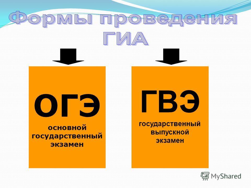 ОГЭ основной государственный экзамен ГВЭ государственный выпускной экзамен