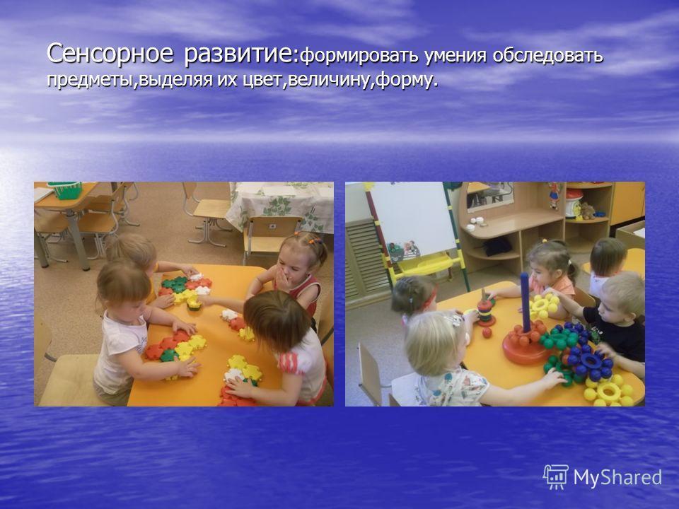 Сенсорное развитие : формировать умения обследовать предметы,выделяя их цвет,величину,форму.