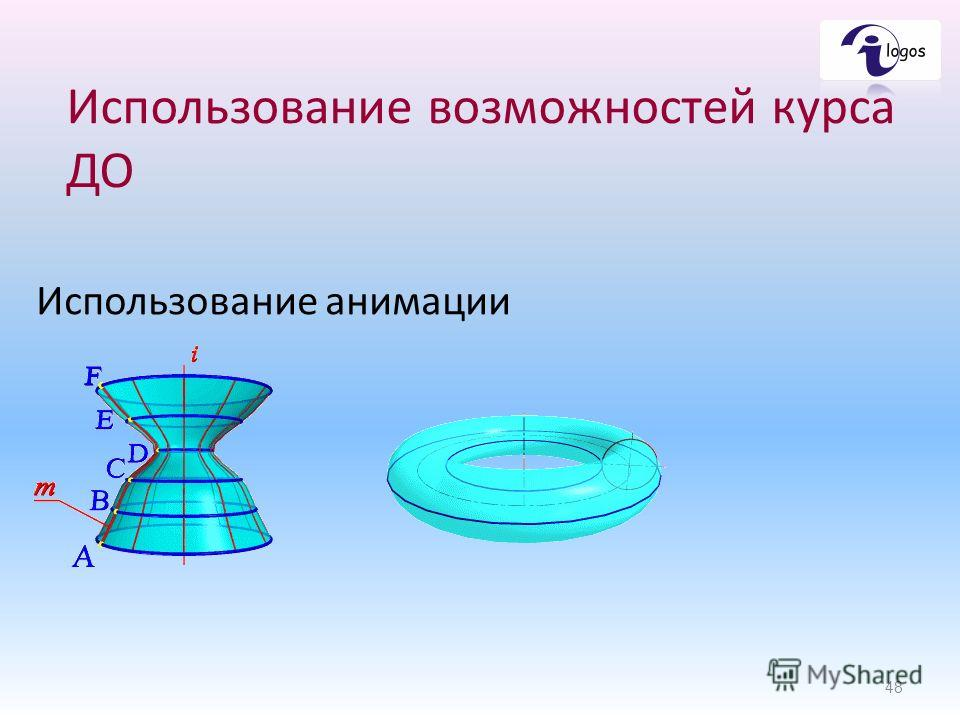 Использование возможностей курса ДО Использование анимации 48
